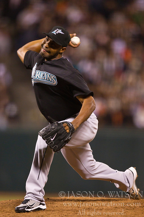 July 26, 2010; San Francisco, CA, USA;  Florida Marlins relief pitcher Jose Veras (43) pitches against the San Francisco Giants during the seventh inning at AT&T Park.  Florida defeated San Francisco 4-3.