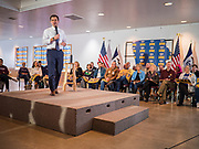 28 JANUARY 2020 - OSCEOLA, IOWA: PETE BUTTIGIEG speaks during a campaign event at the Clarke County Fairgrounds in Osceola, about 50 miles south of Des Moines. Buttigieg talked to a crowd of about 130 people in Osceola. Buttigieg, the former mayor of South Bend, Indiana, is running to be the Democratic nominee for President in the 2020 election. Iowa traditionally holds the first presidential selection event of the 2020 election cycle. The Iowa Caucuses are on Feb. 3, 2020.     PHOTO BY JACK KURTZ