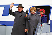 Mikhail and Raisa Gorbachev boarding a flight from London, England, United Kingdom.