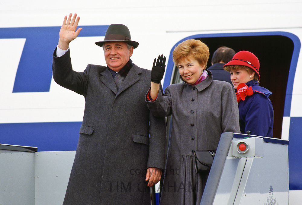 Mikhail and Raisa Gorbachev boarding a flight from London, England, United Kingdom.