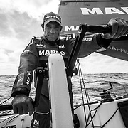 Leg 4, Melbourne to Hong Kong, day 17 on board MAPFRE, Xabi Fernandez at the aft pedestal on stand by to grind. Photo by Ugo Fonolla/Volvo Ocean Race. 18 January, 2018.