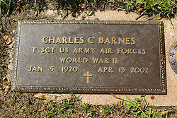 31 August 2017:   Veterans graves in Park Hill Cemetery in eastern McLean County.<br /> <br /> Charles C Barnes Technical Sergeant US Army Air Forces World War II  Jan 5 1920  Apr 13 2002