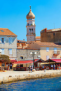 Port and 16th century Gothic styled bell tower topped with a 1767 Baroque dome of the Cathedral of Krk, Krk Island, Croatia .<br /> <br /> Visit our CROATIA HISTORIC SITES PHOTO COLLECTIONS for more photos to download or buy as wall art prints https://funkystock.photoshelter.com/gallery-collection/Pictures-Images-of-Croatia-Photos-of-Croatian-Historic-Landmark-Sites/C0000cY_V8uDo_ls