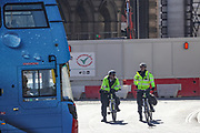 Police officers on patrol in Trafalgar Square in London, Wednesday, March 25, 2020. British lawmakers voted to shut down Parliament for one month from Wednesday due to the coronavirus outbreak. (Photo/Vudi Xhymshiti)
