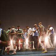 Players are interviewed by radio commentators after the  Fluminense VAtlético MG, Futebol Brasileirao  League match at Estadio Olímpico Joao Havelange, Rio de Janeiro, Fluminense won the match 5-1. Rio de Janeiro,  Brazil. 23rd September 2010. Photo Tim Clayton