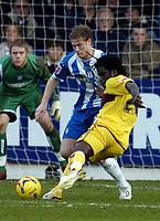Photo: Olly Greenwood.<br />Colchester United v Burnley. Coca Cola Championship. 24/02/2007. Burnley's Ade Akinbiyi shoots at goal