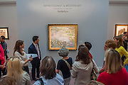 Sotheby's £250m Impressionist & Modern Art and Contemporary Art Summer Sales.  Highlights include: Monet's Water Lilies est £20-30m (pictured); a Mondrian, est £13-18m; a Peter Doig, est £9m; a Frances Bacon triptych of his lover George Dyer, est £15-20m; and works by Matisse, Picasso, Basquiat, Warhol and Richter. Sotheby's, New Bond Street, London.