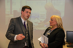 Pictured: Jamie Hepburn and Liz Roberts from Remploy<br /> <br /> Today, Minister for employability and training, Jamie Hepburn MSP visited Remploy in Edinburgh where he announced new employment services funding. Mr Hepburn gave details on cash which will develop new ways of supporting the Scottish Government's new devolved employment services. <br /> <br /> Ger Harley | EEm 21 December 2016