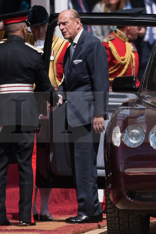 © Licensed to London News Pictures. 12/07/2017. London, UK. The DUKE OF EDINBURGH arrives for the Ceremonial Welcome at Horse Guards Parade for His Majesty King Felipe VI of Spain and Her Majesty Queen Letizia during a three day State visit. Photo credit: Ray Tang/LNP