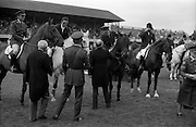 "07/08/1987<br /> 08/07/1987<br /> 07 August 1987<br /> Bank of Irelands Nations Cup for the Aga Khan trophy competition at the Dublin Horse Show at the RDS, Dublin. President Hillery congratulating Commandant Gerry Mullins, on ""Limerick"" on Ireland's win in the Bank of Ireland Nation's Cup.  Also pictured are: (mounted l-r) Captain John Ledingham on ""Gabhran""; Jack Doyle on ""Hardly"" and Eddie Macken on ""Carroll's Flight""."