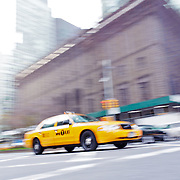 Yellow cabs on Madison Avenue.