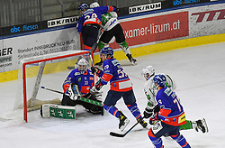 17.09.2021, Tiroler Wasserkraft Arena, Innsbruck, AUT, ICE, HC TWK Innsbruck Die Haie vs HK SZ Olimpija, Grunddurchgang, 1. Runde, im Bild v.l. Tom McCollum (HC TIWAG Innsbruck), Joel Messner (HC TIWAG Innsbruck) // during the bet-at-home ICE Hockey League Basic round 1th round match between HC TWK Innsbruck Die Haie and HK SZ Olimpija at the Tiroler Wasserkraft Arena in Innsbruck, Austria on 2021/09/17. EXPA Pictures © 2021, PhotoCredit: EXPA/ Erich Spiess