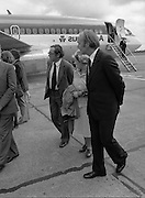 Vietnam Refugees Arrive .09/08/1979.08/09/1979.9th August 1979.Picture shows Minister of Foreign Affairs, Michael O'Kennedy with members of the red cross, waiting on the tarmac at Dublin Airport.