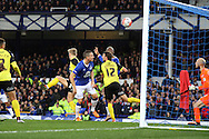 Arouna Kone of Everton (c) heads the ball and scores his teams 1st goal. The Emirates FA cup, 3rd round match, Everton v Dagenham & Redbridge at Goodison Park in Liverpool on Saturday 9th January 2016.<br /> pic by Chris Stading, Andrew Orchard sports photography.