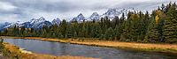 Panoramic view near Schwacher Landing in Grand Teton National Park.