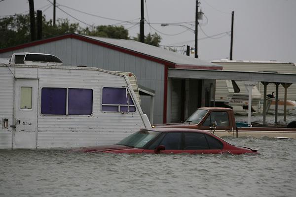 Stock photo of Galveston property flooded from Hurricane Ike