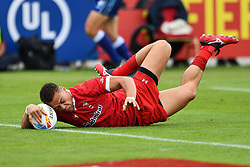 Jay Jones of Wales scores a try<br /> <br /> Photographer Craig Thomas/Replay Images<br /> <br /> World Rugby HSBC World Sevens Series - Day 3 - Saturday 7rd December 2019 - Sevens Stadium - Dubai<br /> <br /> World Copyright © Replay Images . All rights reserved. info@replayimages.co.uk - http://replayimages.co.uk