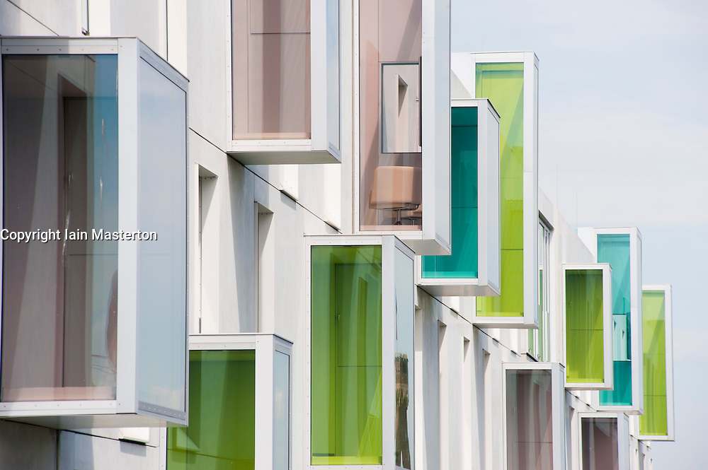 Exterior of modern Art'Otel with unusual architecture in Rheinauhafen district Cologne Germany