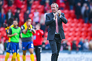 Lee Bowyer of Charlton Athletic (Manager) claps the away fans after a 2-1 win during the EFL Sky Bet League 1 play off first leg match between Doncaster Rovers and Charlton Athletic at the Keepmoat Stadium, Doncaster, England on 12 May 2019.