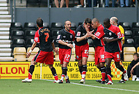 Photo: Rich Eaton.<br /> <br /> Derby County v Southampton. Coca Cola Championship.<br /> <br /> 06/08/2006. Southamptons Gareth Bale #22 is congratulated by teammates after scoring from a free kick