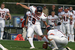 22 October 2005: Thunder place kicker Andrew Day boots a field goal attempt.  It goes wide right. The Illinois Wesleyan Titans posted a 23 - 14 home win by squeeking past the Thunder of Wheaton College at Wilder Field (the 5th oldest collegiate field in the US) on the campus of Illinois Wesleyan University in Bloomington IL