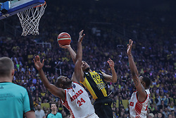 ATHENS, May 7, 2018  Hunter Vins (C) of AEK Athens vies with Traore Ali (L) and Cooper D.J. of AS Monaco during the final match of Basketball Champions League in Athens, Greece, on May 6, 2018. AEK Athens won AS Monaco 100-94. (Credit Image: © Lefteris Partsalis/Xinhua via ZUMA Wire)