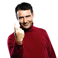 caucasian man beckoning  gesture studio portrait on isolated white backgound
