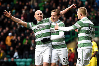 14/12/14 SCOTTISH PREMIERSHIP<br /> CELTIC V ST MIRREN<br /> CELTIC PARK - GLASGOW<br /> Celtic captain Scott Brown leads the way and celebrates his goal with team-mates Stefan Johansen (centre) and John Guidetti (right).