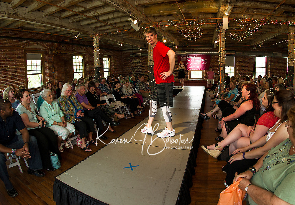 Pat Kelly from WLNH/Binnie Media took an energetic stroll down the runway in his sporty Nike outfit during the Belknap Mill Fashion & Flair Show on Sunday afternoon.  (Karen Bobotas/for the Laconia Daily Sun)