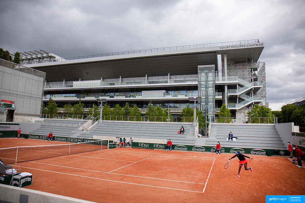 PARIS, FRANCE May 26.  A general view of Asia Mohammad of the United States in action during her match against En-Shuo Liang of Taipei with a backdrop of Court Philippe-Chatrier on day three of the qualifying tournament at the 2021 French Open Tennis Tournament at Roland Garros on May 26th 2021 in Paris, France. (Photo by Tim Clayton/Corbis via Getty Images)