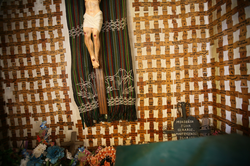 In a small chapel in Nebaj, Quiche, Guatemala, crosses bear with the names of people killed during the violence of the 1980s in the Nebaj region.