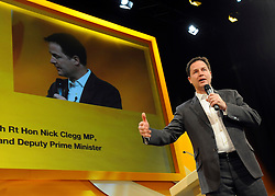 © Licensed to London News Pictures. 17/09/2011. BIRMINGHAM, UK. Deputy Prime Minister Nick Clegg takes part in a question and answer session at the Liberal Democrat Conference at the Birmingham ICC today (19 Sept 2011): Stephen Simpson/LNP . Photo credit : Stephen Simpson/LNP