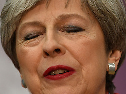 Prime Minister Theresa May reacts at the Magnet Leisure Centre in Maidenhead, after she held her seat.