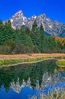 Reflections of the Teton Range in a beaver pond at Schwabacher Landing.  Grand Teton National Park.  Wyoming