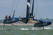 SailGP Team USA helmed by Rome Kirby practice ahead of the Cowes regatta. Event 4 Season 1 SailGP event in Cowes, Isle of Wight, England, United Kingdom. 7 August 2019: Photo Chris Cameron for SailGP. Handout image supplied by SailGP