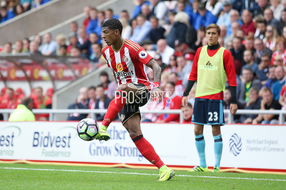 Sunderland defender Patrick van Aanholt (3)  controls the ball  during the Premier League match between Sunderland and Middlesbrough at the Stadium Of Light, Sunderland, England on 21 August 2016. Photo by Simon Davies.