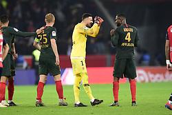 March 15, 2019 - Lille, France, FRANCE - joie des joueurs de Monaco en fin de match.SUBASIC Danijel (Monaco) / AHOLOU Jean Eudes  (Credit Image: © Panoramic via ZUMA Press)