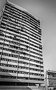 """Bombed out tower block near  the Holiday Inn and """"Sniper Alley,"""" Sarajevo, 1998"""