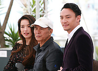 Actress Shu Qi, director Hou Hsiao-Hsien and actor Chang Chen at the The Assassin film photo call at the 68th Cannes Film Festival Thursday May 21st 2015, Cannes, France.