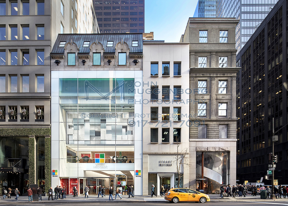 Images of buildings at 53rd and 5th Ave in Midtown, NYC.