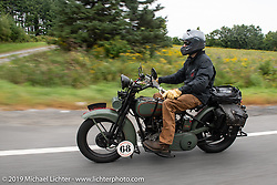 Jeremy Loewen riding his 1925 Harley-Davidson JD in the Motorcycle Cannonball coast to coast vintage run. Stage-2 (251-miles) from Keene, NH to Binghampton, NY. Sunday September 9, 2018. Photography ©2018 Michael Lichter.