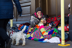 """Macieck, 29, from Poland has lived in a shop doorway on High Street opposite  Windsor Castle for monthsAfter a public outcry against their """"homelessness support strategy"""" where rough sleepers would have been fined £100, Windsor council has shelved their plans. Windsor, Berkshire, February 16 2018."""