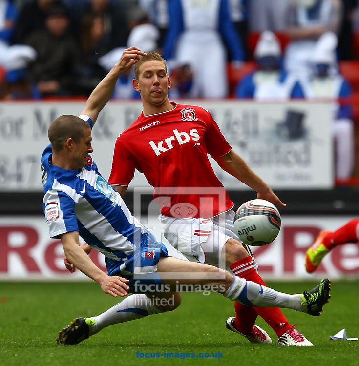 Picture by John Rainford/Focus Images Ltd. 07506 538356.05/05/12.Scott Wagstaff of Charlton Athletic and Paul Murray of Hartlepool United during the Npower League 1 match at The Valley stadium, London.