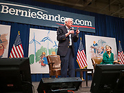 """09 NOVEMBER 2019 - DES MOINES, IOWA: US Senator BERNIE SANDERS (I-VT) and Congresswoman ALEXANDRIA OCASIO-CORTEZ (D-NY) at a climate change town hall organized by Sanders' presidential campaign. Sanders and Ocasio-Cortez hosted the """"Climate Crisis Summit"""" at Drake University in Des Moines. More than 2,000 people attended the event. Sanders, an independent, is running to be the Democratic nominee for the 2020 US Presidential election. Iowa holds the first in the country selection contest with state caucuses on Feb. 3, 2020.               PHOTO BY JACK KURTZ"""