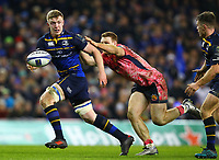 Rugby Union - 2017 / 2018 European Rugby Champions Cup - Pool Three: Leinster vs. Exeter Chiefs<br /> <br /> Leinster's Dan Leavy offloads under pressure from Exeter's Sam Simmonds, at Aviva Stadium, Dublin.<br /> <br /> COLORSPORT/KEN SUTTON