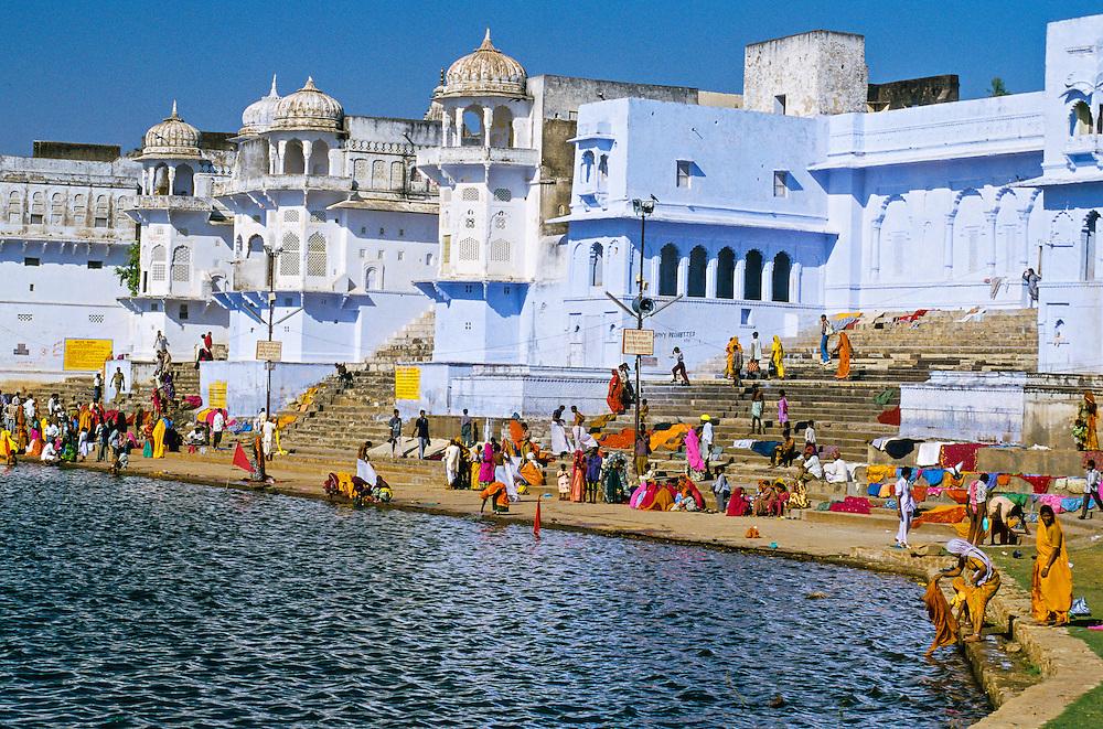 Ghats on Pushkar Lake (Holy Lake) during the Pushkar Fair, Rajasthan, India