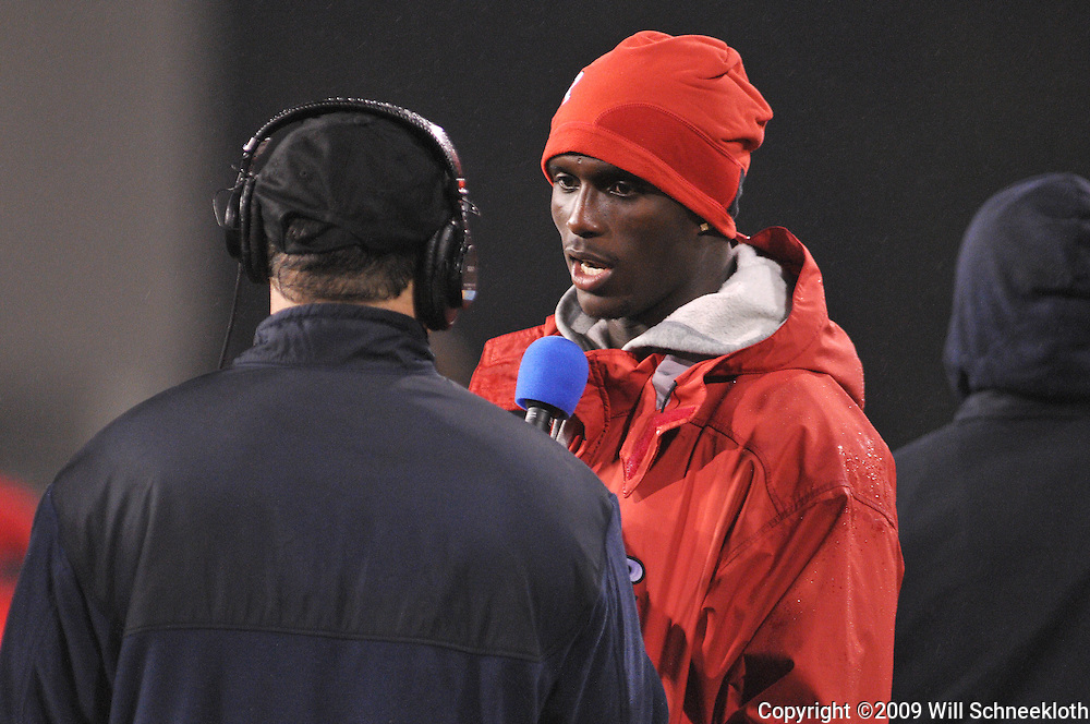 Oct 23, 2009; West Point, N.Y., USA; Former Rutgers corner back Jason Mccourty is interviewed during Rutgers' 27 - 10 victory over Army at Michie Stadium.