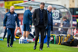 Dundee manager James McPake at half time. Dundee 1 v 3 Partick Thistle, Scottish Championship game player 19/10/2019 at Dundee stadium Dens Park.