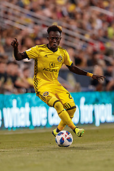 August 11, 2018 - Columbus, OH, U.S. - COLUMBUS, OH - AUGUST 11: Columbus Crew forward Edward Opoku (27) maneuvers with the ball in the MLS regular season game between the Columbus Crew SC and the Houston Dynamo on August 11, 2018 at Mapfre Stadium in Columbus, OH. The Crew won 1-0. (Photo by Adam Lacy/Icon Sportswire) (Credit Image: © Adam Lacy/Icon SMI via ZUMA Press)