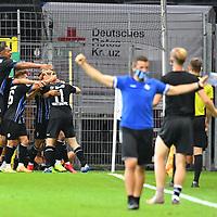 13.09.2020, Carl-Benz-Stadion, Mannheim, GER, DFB-Pokal, 1. Runde, SV Waldhof Mannheim vs. SC Freiburg, <br /> <br /> DFL REGULATIONS PROHIBIT ANY USE OF PHOTOGRAPHS AS IMAGE SEQUENCES AND/OR QUASI-VIDEO.<br /> <br /> im Bild: Dominik Martinovic (SV Waldhof Mannheim #11) jubelt ueber sein Tor zum 1:1<br /> <br /> Foto © nordphoto / Fabisch